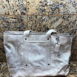 Coach white fabric purse